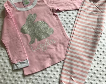 Girls Easter Pajamas Personalized with Glitter Bunny and Name Baby Toddler Youth Pjs Jammies