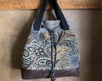 UPCYCLED HANDBAG - Whimsical Floral Bag - Medium Purse - Repurposed Fabrics - Blue & Brown Tones - Paisley Tapestry - Eco Friendly