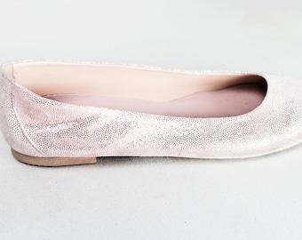 Rose Gold Suede Leather Ballet Flats ballerina's Summer Flat Shoes  ballerina flats ballerina shoes ballet slippers ballet shoes