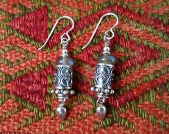 Labradorite and sterling silver earrings handmade gypsy amulet primitive nomad artisan ethnic dangle earthy lightweight tribal rustic dangle