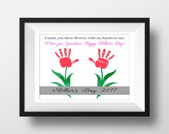 DIY Mother's Day Gift For Grandma from Kids - INSTANT Download Mothers Day Printable - Handprint Art - Watercolor Art