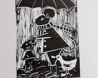 April showers Mouse Duck umbrella hand-printed linocut signed.