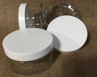 8oz Clear Plastic Jars PET Heavy Wall Low Profile Wide Mouth Jars with Lined White Plastic Lids, SET of 4