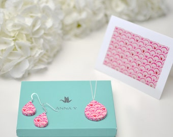 """First Anniversary Paper Jewelry / 1 Year Anniversary Gift / Paper Anniversary for Her / """"Adore"""" Set / Paper Earrings, Necklace, Card + Box"""