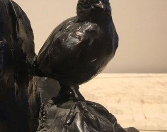 California Quail Chick, hand cast bronze sculpture by Canadian artist Kindrie Grove