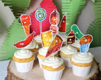 Hungry Caterpillar Cupcake Toppers