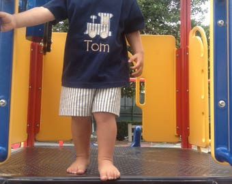 Boys Navy Shorts Set, ticking, medium weight shorts, boys, toddlers, classic, shorts and tee shirt,back to school