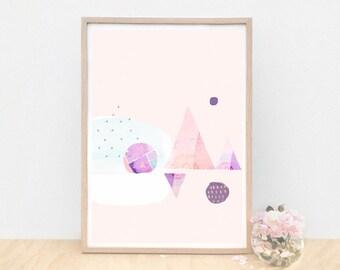 Unique Modern Art, Unique Art, Geometric Art, Triangle Art Print, Calming Abstract Art, Danish Modern Art, Scandinavian Art, Pink, Purple,