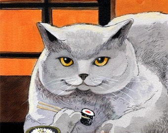 Sushi Cat Big Fred Art Print