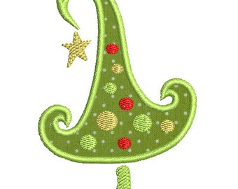 Instant download Christmas tree machine embroidery design applique.