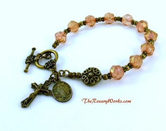 Vintage Style Miraculous Medal Rosary Bracelet Chaplet Pink Holy Spirit St Benedict Bronze Bali Style Bead Bohemian Glass Prayer Beads