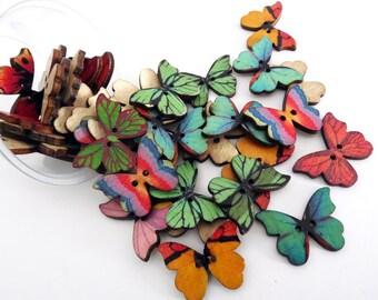 Botón madera, botones mariposas, botón redondo, botón decorativos, botones coser, botones fantasia, botón madera estampado, botón 2 agujeros