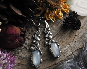 Moonstone Lily of the Valley Earrings // Flower // Botanical // Bohemian // Boho // Pagan // Witchy // Floral // Spring // Nature Jewelry