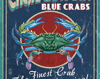 Chesapeake Bay, Virginia - Blue Crab Vintage Sign (Art Prints available in multiple sizes)