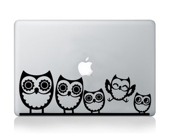 Owl Macbook Decal- Sticker macbook 13 skin - laptop decal - owl sticker - owl transfer - owl art - owl family