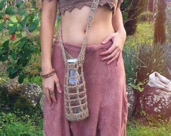 Jute Bottle Holder ~ Primitive Nomad ~ Handmade with love & Crochet ~ Zero Waste + Vegan + All Natural.