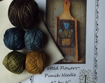 Punch Needle Potted Flowers Kit Weavers Cloth