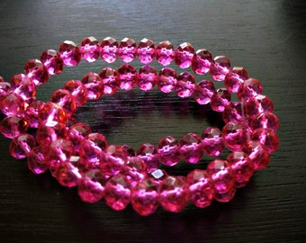 Crystal Beads Bright Pink Faceted Rondelles 8x5MM