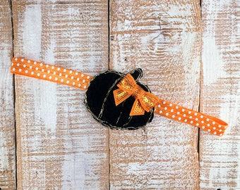 Pumpkin Headband, Fall Headband, Halloween Headband, Newborn Headband, Toddler Headband, Girls Headband, Photography Prop,