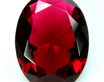 Large Glass Jewel 30x22mm Oval Faceted Diamond Cut Pointed Back, Unfoiled - Rose Red BR135 - 1 piece