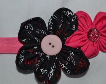pink and black flower headband