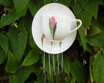 Bone China Tea Cup and Saucer Glass Windchime, Rose Suncatcher, Unique Wind Chimes, Stained Glass Yard Art, Original Garden Decor, Handmade