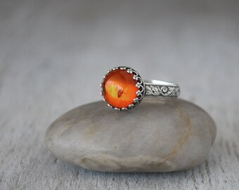 Baltic Amber Ring Sterling Silver - Sterling Silver Amber Ring - Handcrafted Artisan Silver Ring
