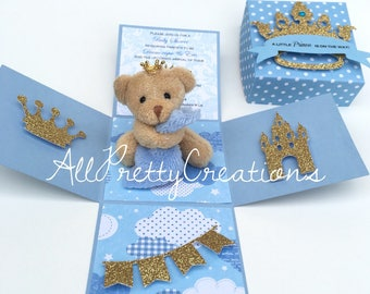 Boy baby shower exploding box invitation. 3-D explosion box. Prince theme invitation. Prince teddy bear invitation.