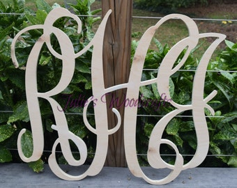 3 letter monogram script wooden wall decor
