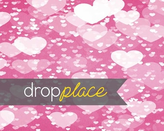 Printed Pink Floating Hearts Photography backdrop  Background Photo Booth Printed vinyl or Fabric (Multiple Sizes Available)