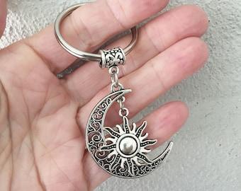 Crescent Moon Keychain/ Sun Key Chain/ Moon Sun Key Chain/ Sun Moon Keyring/ Celestial Key Ring/ Sun Charm Keychain/ Crescent Moon Keyring