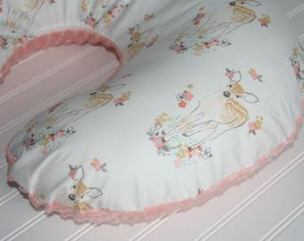 floral nursing pillow cover- fawn nursing pillow cover- minky nursing pillow cover- baby girl bedding- baby girl nursery