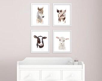 Baby Animal Prints, Farm Nursery Art Print Set, Farm Animals, Animal Prints for Nursery, Animal Art, Set of 4 Prints, Cow, Horse, Pig, Sheep