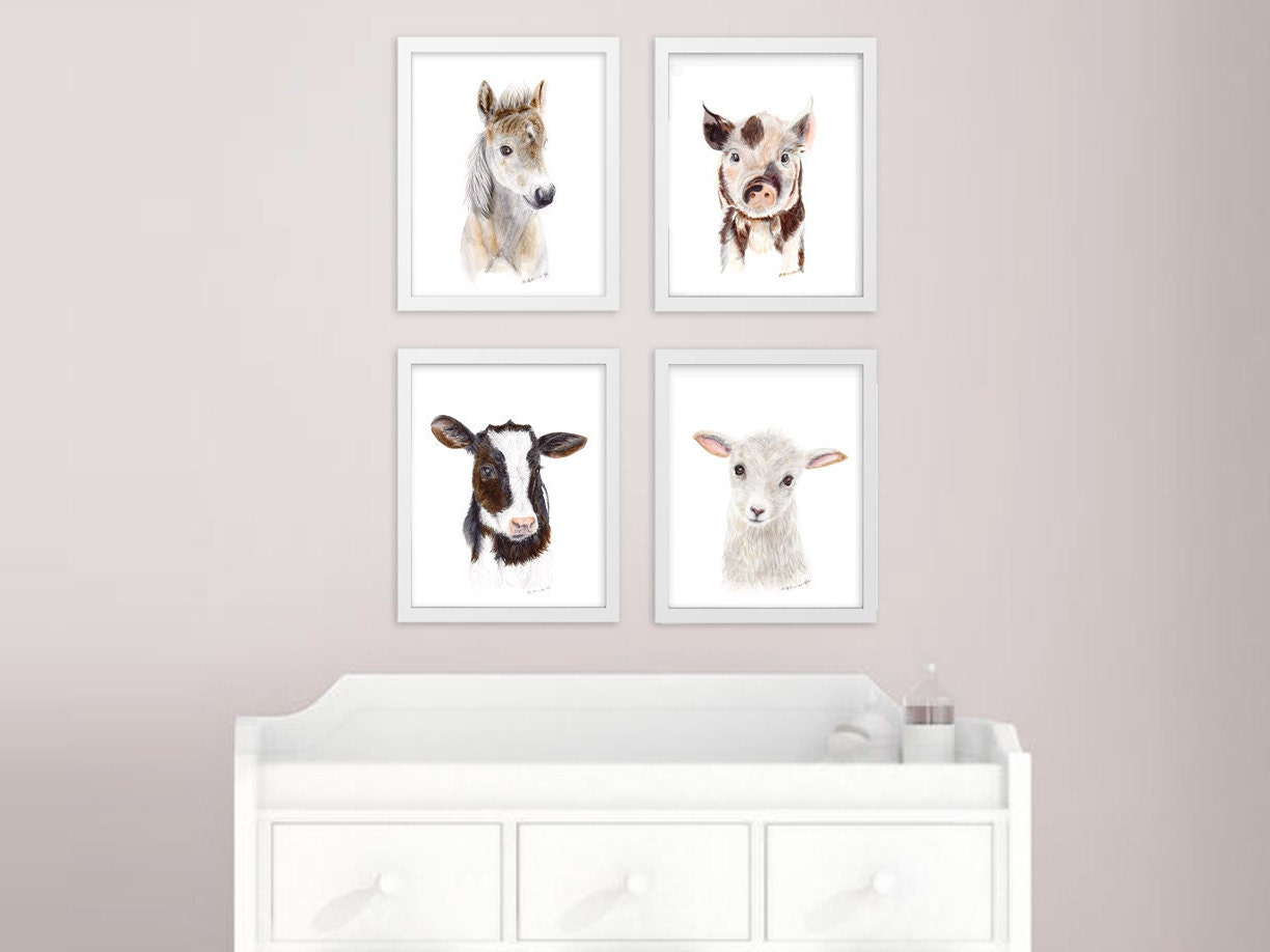 baby animal prints farm nursery art print set farm animals