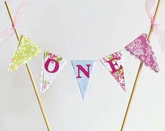 First Birthday Tea Party Cake Bunting - ONE Cake Topper - Pink, Green, Blue, Floral