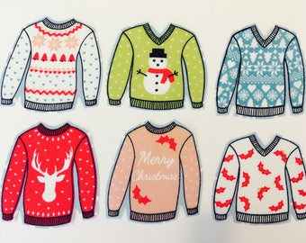 Christmas Jumper Fabric Appliques Iron on Patch. Set of Christmas Sew or Iron on transfers/Sew on motifs
