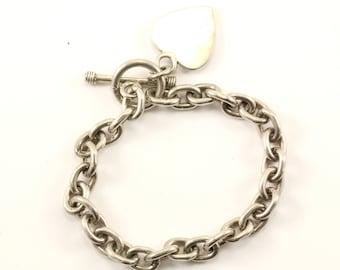 Vintage Rolo Chain Heart Tag Toggle Bracelet 925 Sterling BR 2924