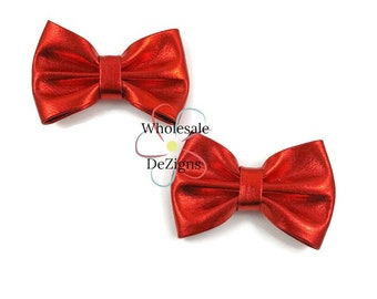 "Red Metallic Shiny Bows - 3"" - 3 Inch - DIY Bows - DIY Headbands Hair Clips - Set of 2 Bows"