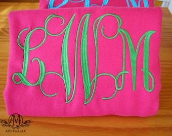 Monogrammed sweatshirt, womens monogram sweatshirt, hot pink crewneck sweatshirt, personalized sweatshirt, Monogrammed gift, gift for her,