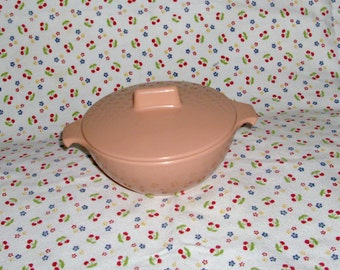 Light Pink Melmac Sugar Bowl with Lid, Made in Canada 1958