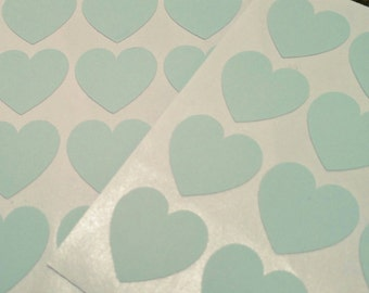 24 Mint Heart Stickers - Cardmaking, scrapbooking, favours, invitation seals, envelope seals