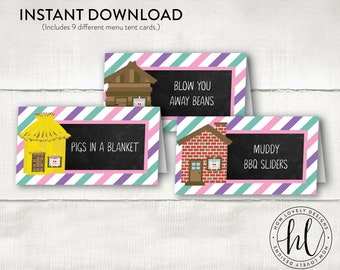 Three Little Pigs Birthday Tent Cards | Pig Birthday Menu Cards | Three Little Pigs Birthday | Pig Party Menu Cards