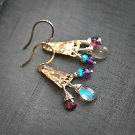 Textured Brass Pylons with Labradorite, Garnet, Amethyst, and Turquoise Dangles Sterling Silver Earrings