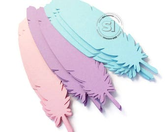 Large Paper Feather Die cut Embellishments-4in, 5in, 6in Paper Feather Embellishments- Choose Your Colors & Size