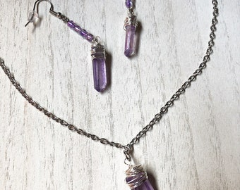 Wite Wrap Necklace/Earring Set
