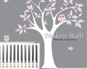Vinyl Wall Art Decal-Owls Birds-nursery wall decals kids wall stickers-e86