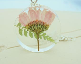 Flower Necklace, Chrysthanemum Pink Flower Necklace, Gift for Mum, Nature Jewelry, Flower and Fern, Gift for Her, November Birthday