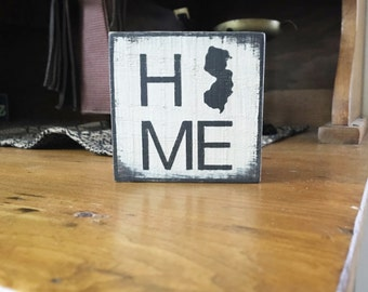 HOME New Jersey  ~ handmade rustic box sign