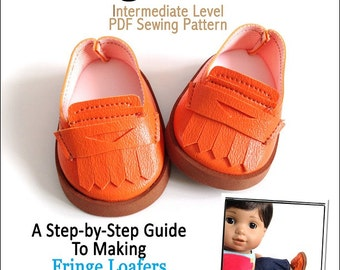 Pixie Faire Miche Designs Fringe Loafers Doll Clothes Pattern for 15 inch American Girl Dolls - PDF