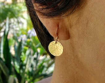 Hammered Circle Earrings, Gold, Silver, Dangle Earrings Gold Earrings, Silver Earrings, Small Earrings, Hammered, Circle, Dangle, Tiny